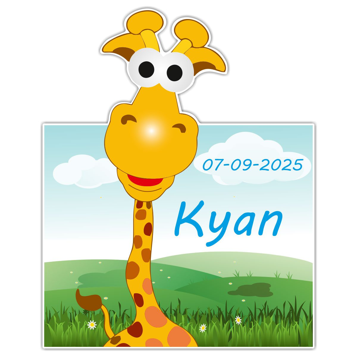 Geboortebord Fun Giraffe jongen met datum