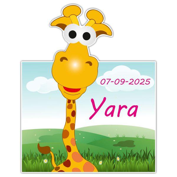 Geboortebord Fun Giraffe meisje met datum