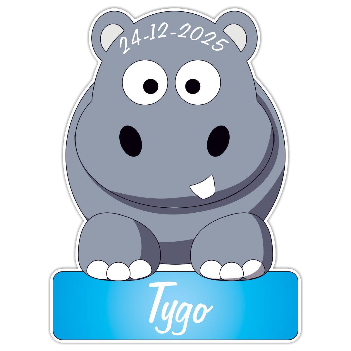 geboortebord Nijlpaard jongen