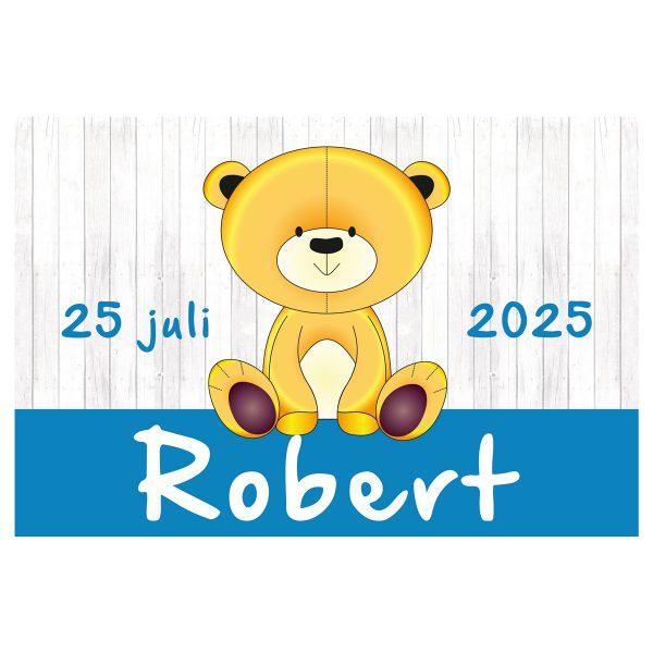 geboortevlag Teddy op hout jongen met datum