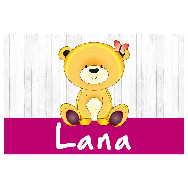 geboortevlag Teddy op hout meisje