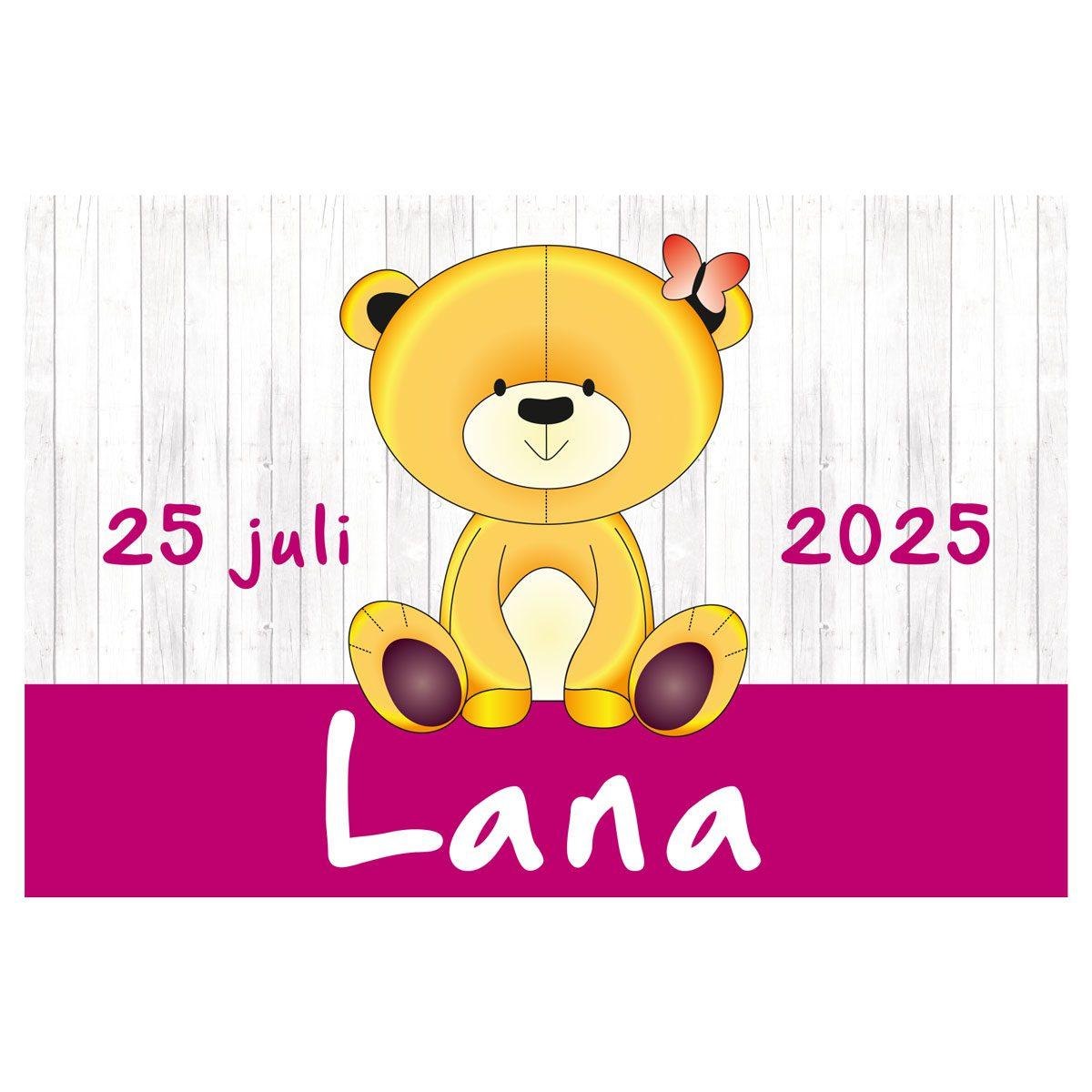geboortevlag Teddy op hout meisje met datum