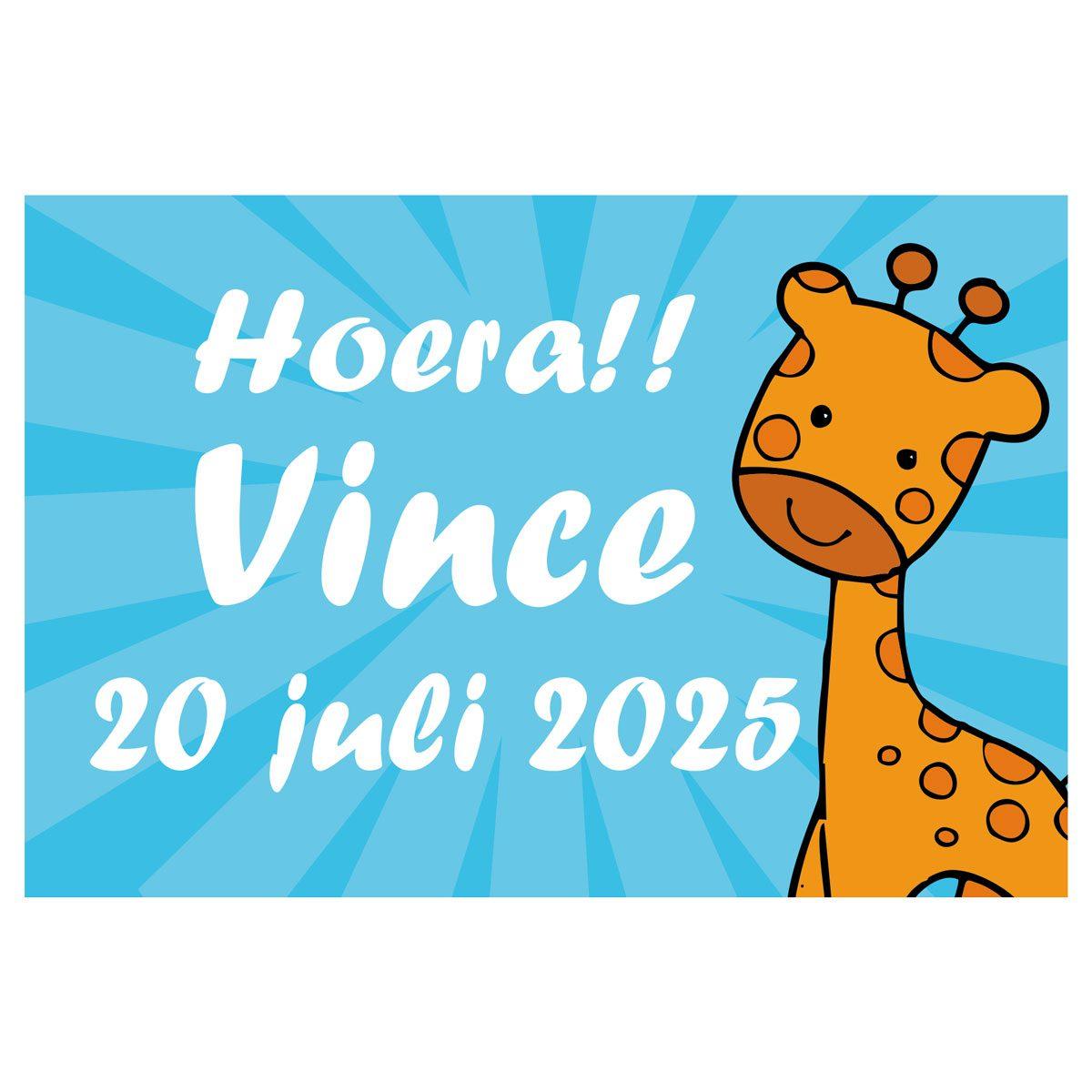 Geboortevlag giraffe jongen met datum