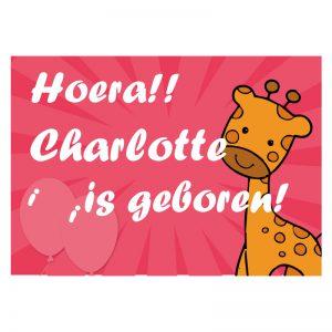 Geboortevlag met naam giraffe meisje