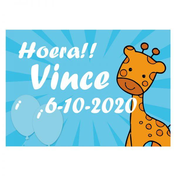 Geboortevlag met naam en geboortedatum giraffe jongen