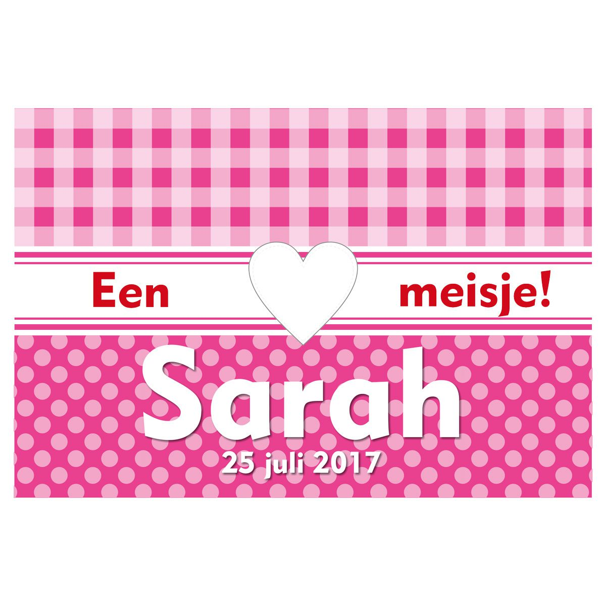 geboortevlag ruit en stip roze met datum