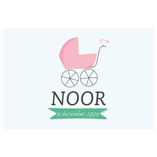 geboortevlag kinderwagen meisje met geboortedatum